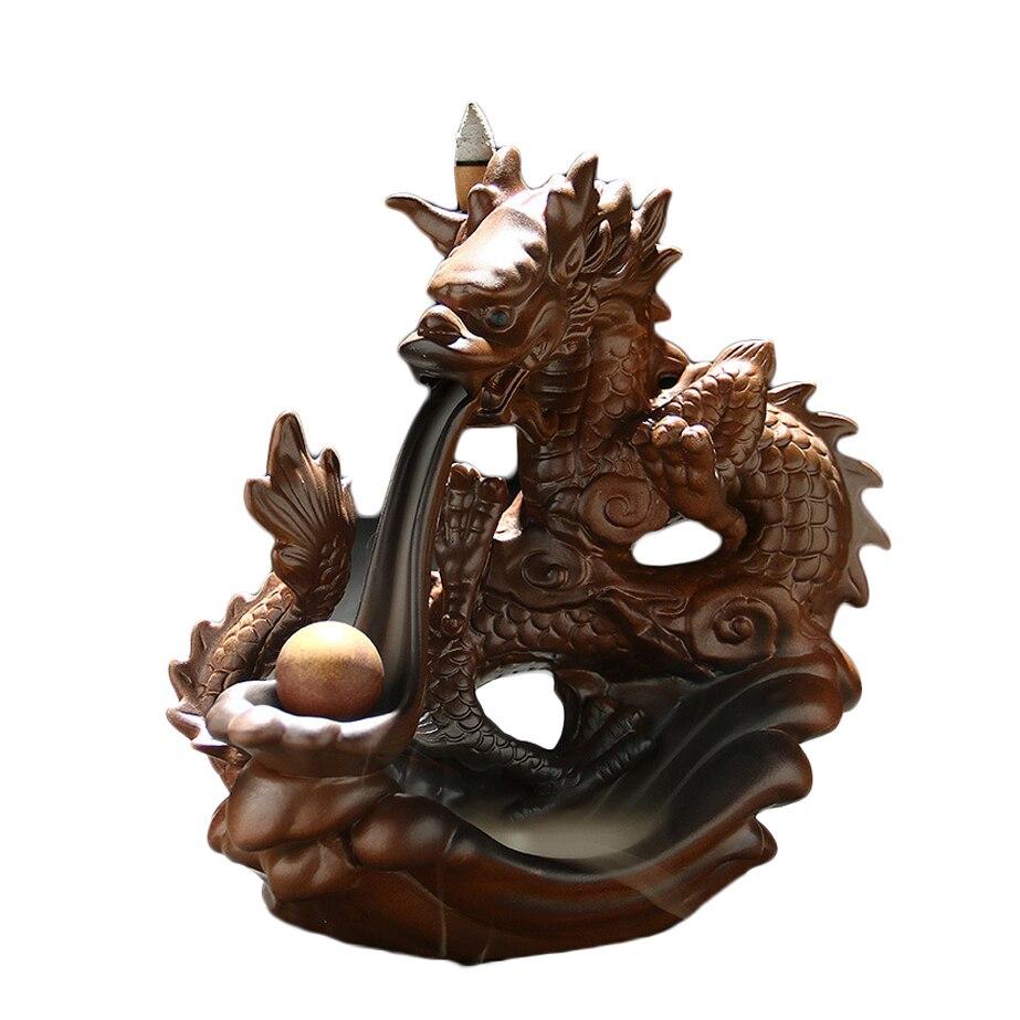N boîte cadeau Dragon jouer perles en céramique artisanat fait à la main brûleurs d'encens haut de gamme thé animaux de compagnie ameublement ornements Boutique décor