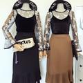 Mujeres negro malla de encaje de ganchillo cami tee con terciopelo flare manga de dos piezas establece camisetas superior femenina moda vintage clothing