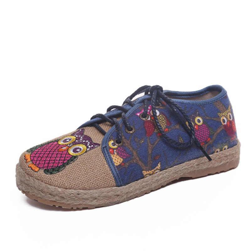 COOTELILI Oxford düz ayakkabı Kadın Loafer'lar Keten Yuvarlak ayak üzerinde Kayma Baykuş Baskı Nefes Feminino Kırmızı Gri Mavi Boyutu 35- 40