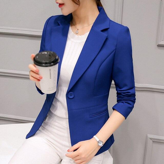 Spring Women Slim Blazer Coat 2018 Plus Size Casual Jacket Long Sleeve One Button Suit Lady Blazers Work Wear P2812