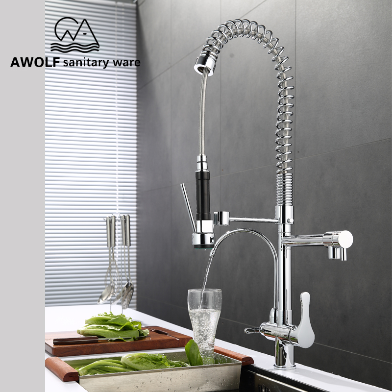 Silver Dual Spout Kitchen Sink Faucet Three Ways Pull Out Spring Kitchen Faucet Rotation Deck Mounted Tap Hot&Cold Mixer SD1012