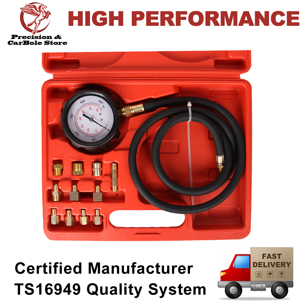 Petrol Gas Engine Compression Diagnostic Tester Cylinder Pressure Gauge Kit