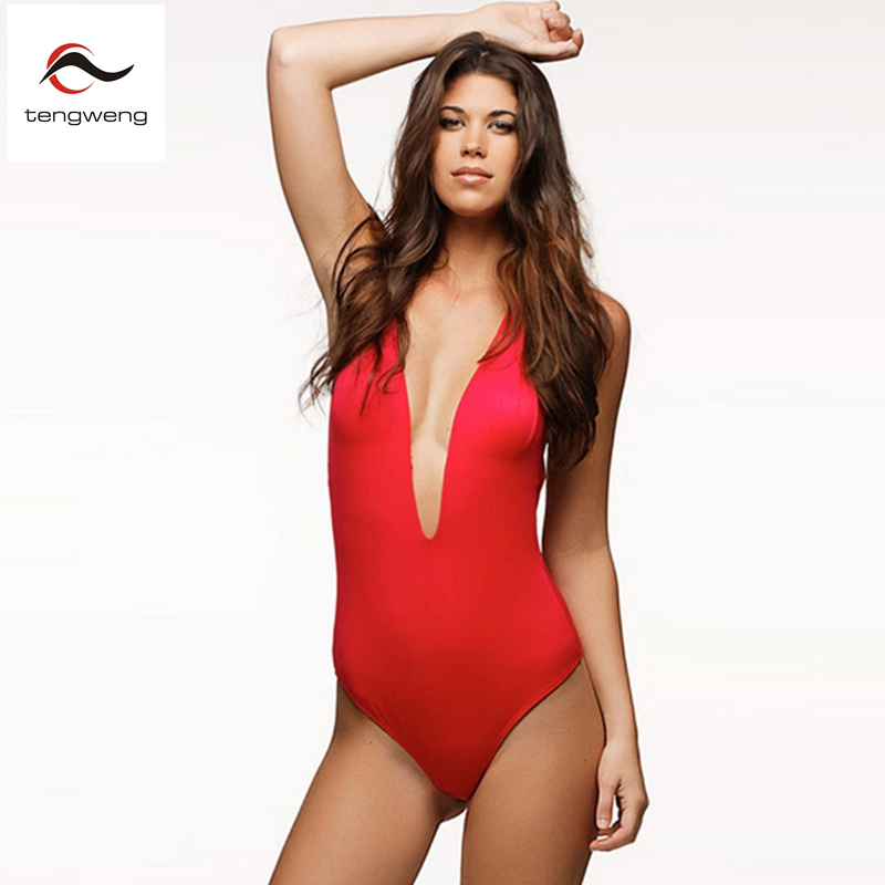 84d08c24a4b3d 2017 Womens Sexy Black Red Deep V Neck Padded Plunge One Piece Halter  Swimsuit Backless Monokini Bodysuit Beachwear Swimwear XL