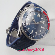 цена 41mm Blue Sterile Dial Ceramic Bezel Super Luminous Steel Case Automatic Movement men's Watch онлайн в 2017 году