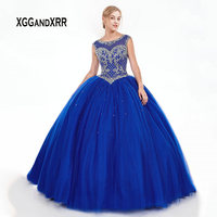 Blue Ball Gown Quinceanera Dresses 2019 Sweet 16 Dress Luxury Beading Puffy vestidos de 15 anos Girl Party Ball Dress Plus Size