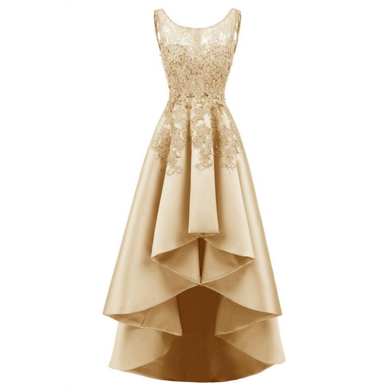 W.JOLI Evening Dress Sexy Asymmetrical Prom Gown Satin Lace Appliques Bride Banquet Elegant Wedding Party Dresses 2019