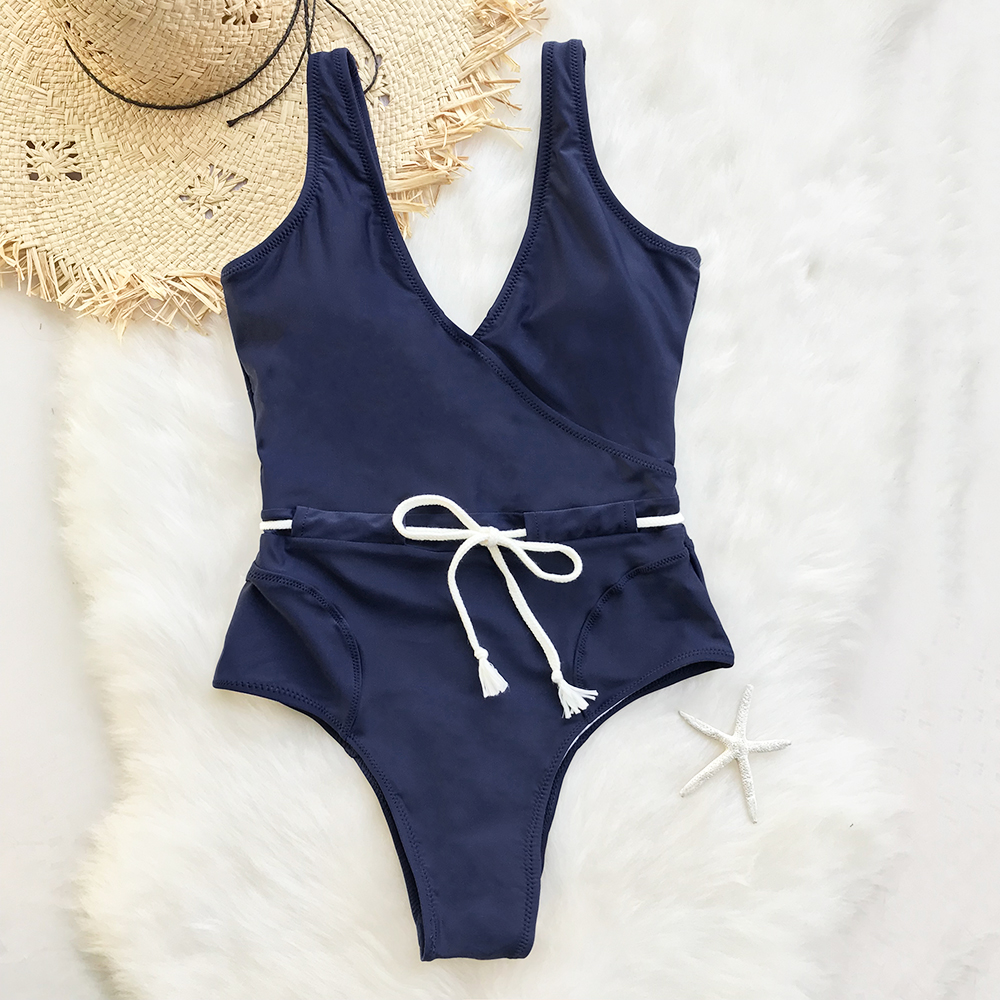 CUPSHE Sing In The Clouds Solid One-piece Swimsuit Deep V neck Summer Sexy Bikini Set Ladies Beach Bathing Suit Swimwear
