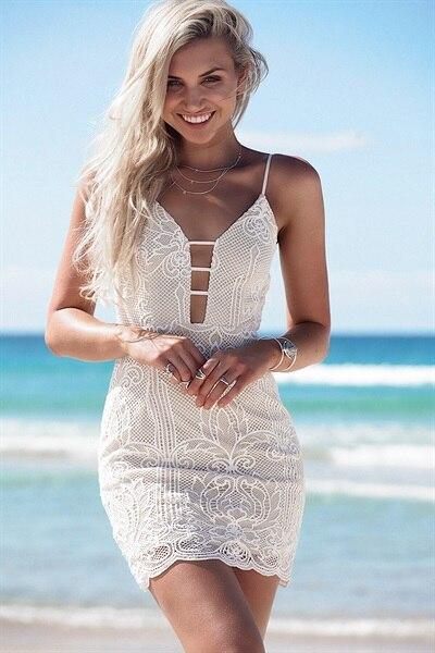 mini šaty elegantní sexy ležérní klub plážová párty elegantní bílá bez rukávů letní šaty gatsby tank krajky bez ramínek módní trendy léto