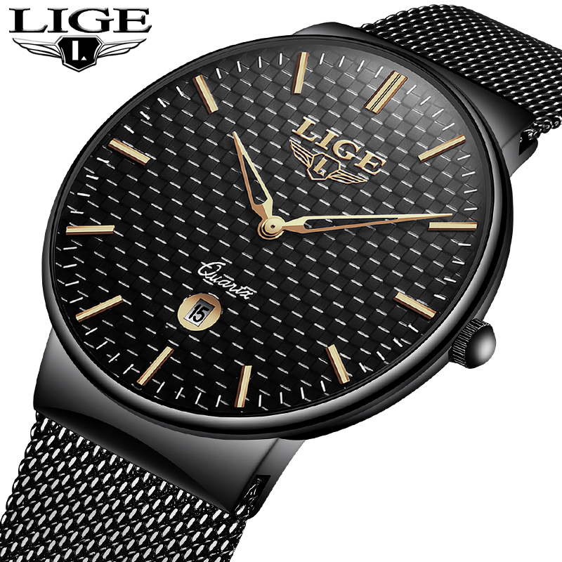 LIGE Men's Watches New luxury brand watch men Fashion sports quartz-watch stainless steel mesh strap ultra thin dial date clock rosefieltop luxury brand womens watches men stainless ultra thin watch steel mesh strap band quartz watch thin dial clock 2017