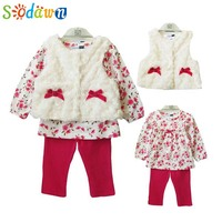 2014 New Baby Girls Clothing 3pcs Set For Winter Long Sleeve Shirt Leopard Pants Fleece Vest