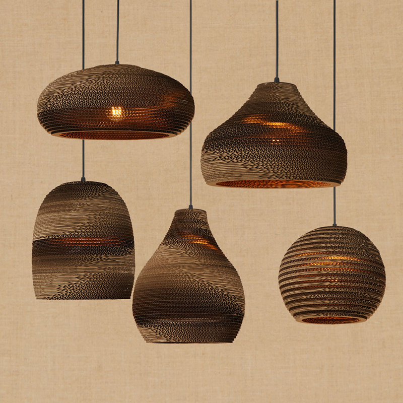 Modern LED Origami pendant lamp vintage American hanging paper E27 pendant light bar/restaurant living room lighting fixture