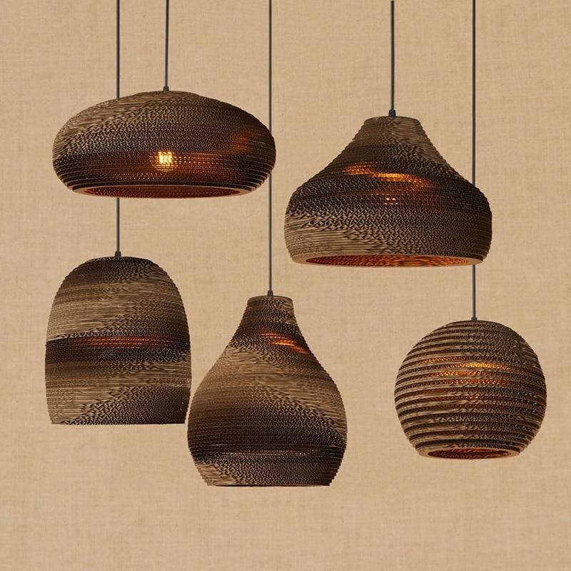 Modern LED Origami pendant lamp vintage American hanging paper E27 pendant light bar/restaurant living room lighting fixture