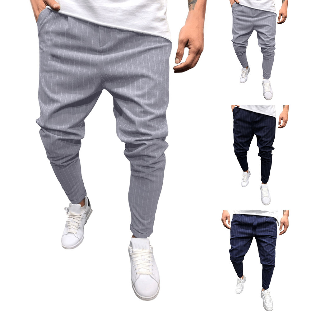 2019 New Style Hot Sales Fashion Men's Casual Solid Loose Stripe Pocket Sweatpant Trousers Jogger Pant High Quality Sales 2019