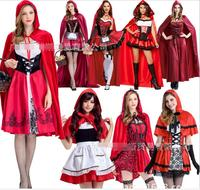 Little Red Riding Hood Costume for Women Fancy Adult Halloween Cosplay Fantasia Carnival Fairy Tale Plus Size 2XL 3XL