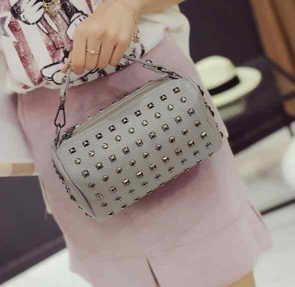 4 cores New qualidade pu mulheres de couro saco rebite Boston pequeno saco de mini modelos primavera saco Do Mensageiro Móvel bolsa travesseiro pacote