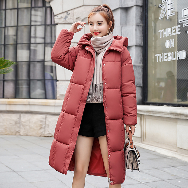 2018 women hooded warm coat winter jackets Big fur collar hats long   parka   Grey cotton padded jacket female womens plus size