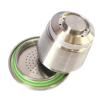 High Quality Stainless Steel Compatible For Nespresso Machine Refillable Reusable Coffee Capsule with Silicone Ring Replacement