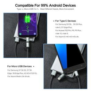 Image 3 - FLOVEME Cable USB tipo C para móvil, Cable Micro USB de carga rápida 2 en 1 para Samsung Galaxy Note 9, S9, 2.8A, Redmi Note 7