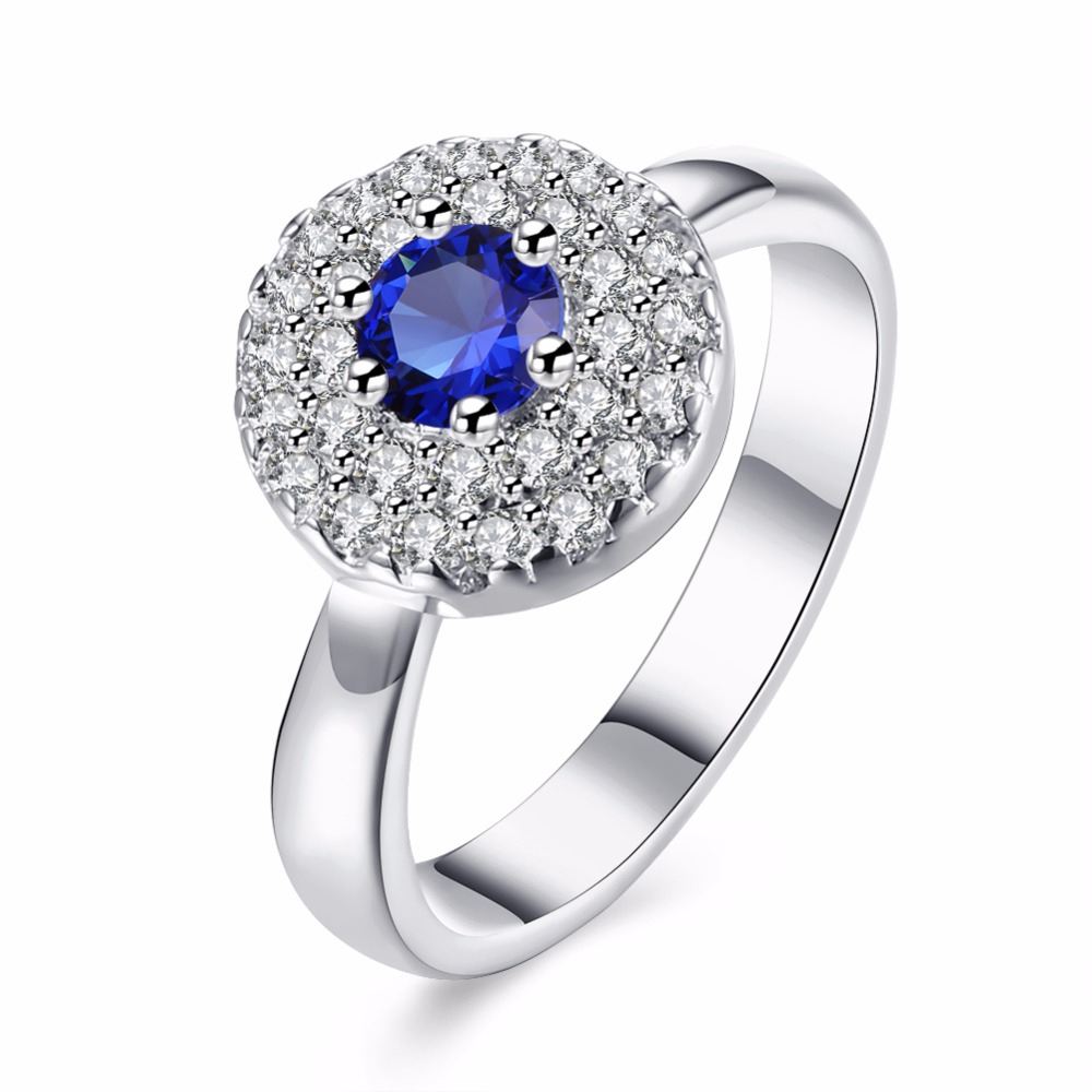 Fashion silver round jewelry blue zircon ring is very pleasantly surprised flashing gift ...