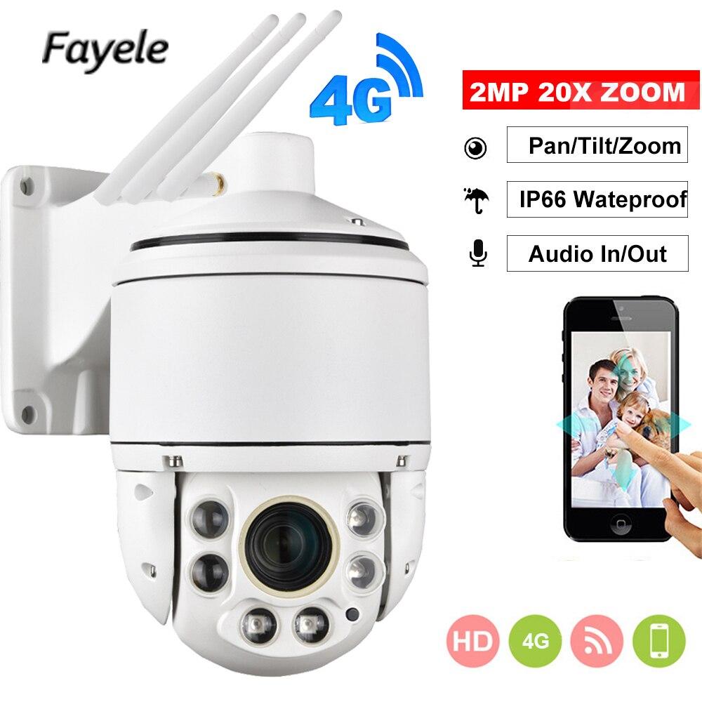 1080 P 3G 4G caméra SIM carte Wifi extérieur PTZ HD caméra IP sans fil IR 100 M 20X Zoom Auto Focus CCTV LTE P2P accès Mobile Camhi