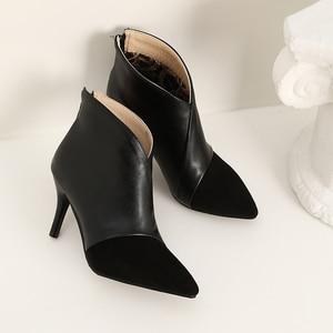 Image 4 - ZawsThia 2020 donna di inverno sottile di alta heels V cut design punta a punta delle signore sexy pompe stivali con zip alla caviglia per le donne formato 33 46