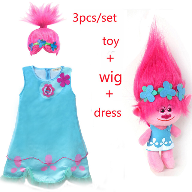 4105019201c 2018 New Carnival Costume Trolls Dress Wig toy For Kids Poppy Lace Dress  Baby Girls Moana clothes Children Vaiana Party Vestido