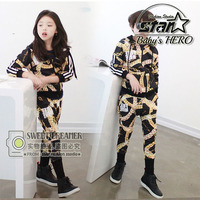 New Spring Autumn Children Clothing Sets Boy Girl Hiphop Fashion Sets Suits Kids Brand Cotton Sports