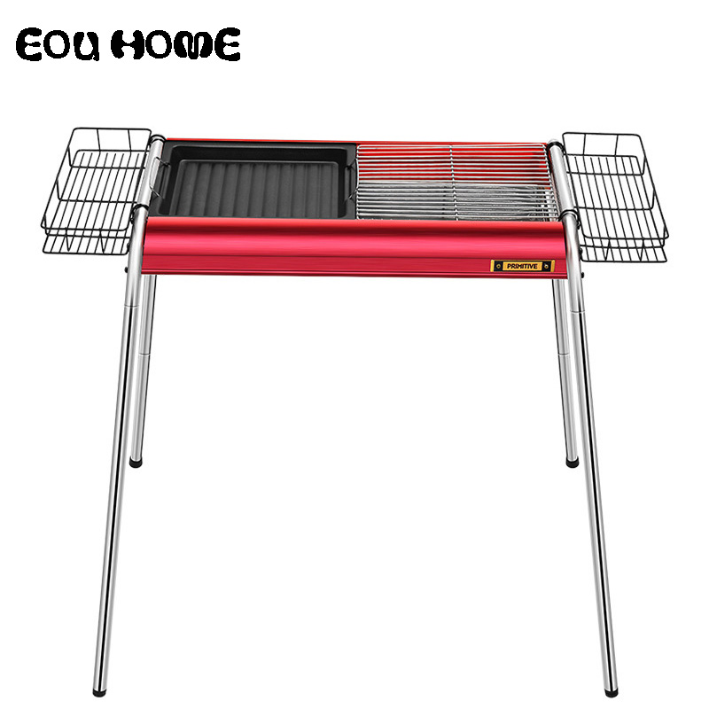 Portable Thickened BBQ Grills Large Charcoal Rack Outdoor Picnic Barbecue Oven Aluminum Alloy Folding BBQ Rack Height Adjustable