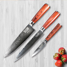 SUNNECKO 3PCS Kitchen Knife Set 8 Chef 3.5Paring Slicing Japanese Damascus VG10 Steel Pakka Wood Handle Cutter