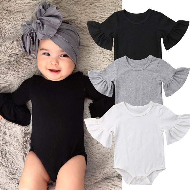 f3ebe6c9b Newborn Infant Baby Girl Clothes Plain Cotton Half Sleeve Ruffled ...