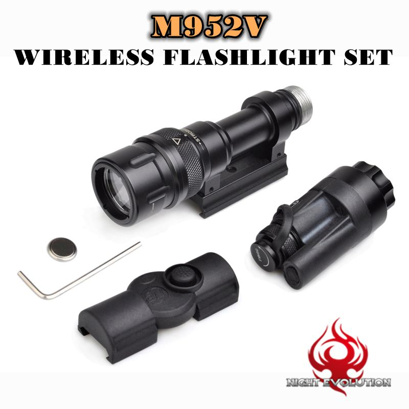 Night Evolution Tactical light M952V Wireless Flashlight Set Quick Release Tactical Flashlight Airsoft Torch NE 04077 FOR WARGAM adjustable quick release plastic tactical puttee thigh leg pistol holster pouch for usp45 black