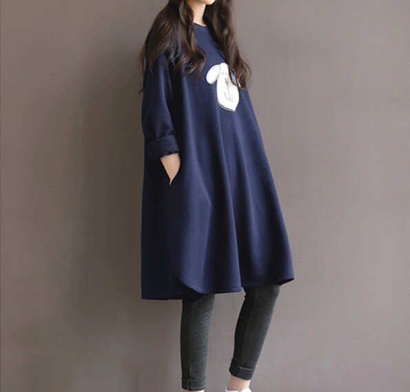 New Autumn Winter Pregnant Women Fashion Shirts Loose Dress Maternity Cotton Long Sleeve ...