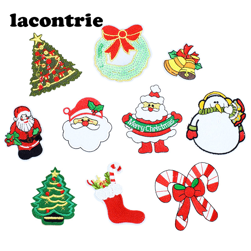 Christmas patches for clothing iron on patches embroidery patch applique parches ropa diy gifts set stickers for clothes 10pcs