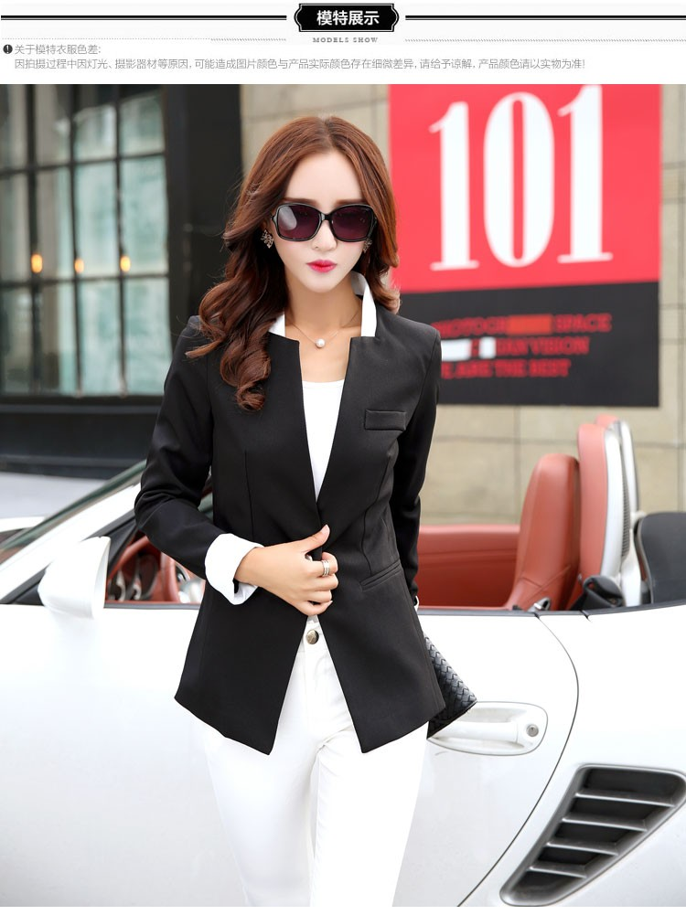 Autumn Spring Chic Office Ladies Stand Collar Blazers Pink Black Jackets For Gentle Women Silm Business Casual Wear Jaqueta Feminina cccc