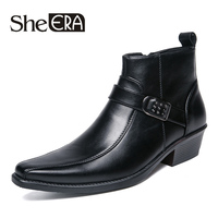 39 44 brand men boots Top quality handsome comfortable Retro leather spring boots pointed toe med heel men shoes