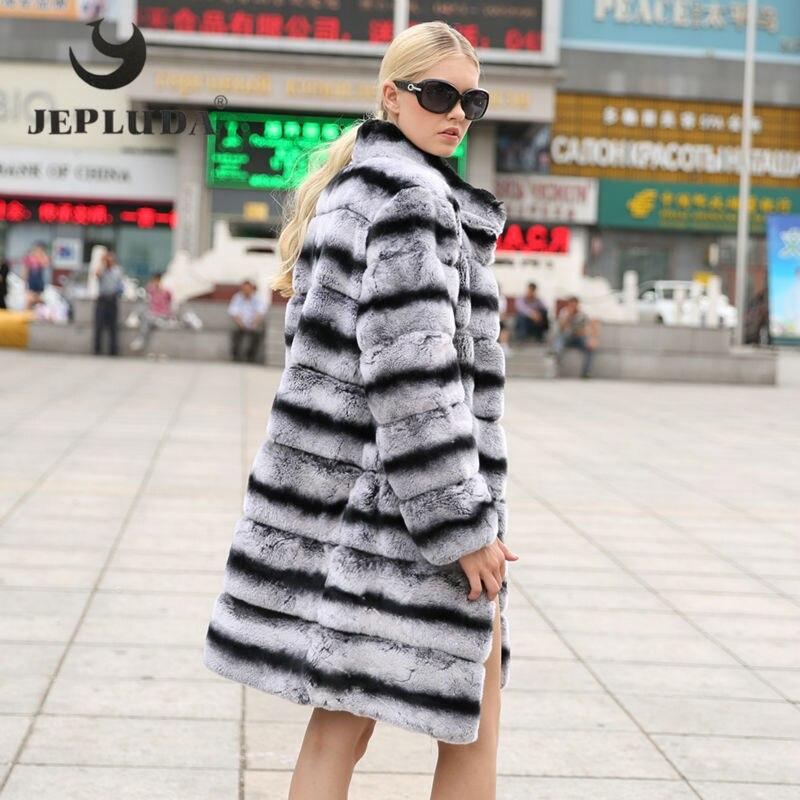 JEPLUDA Nova Moda Rex pele de Coelho Casaco de Gola Mandarim Manga Longa de Inverno de espessura da Pele Quente Casaco Jaqueta de Inverno Das Mulheres Reais Da Pele mulheres