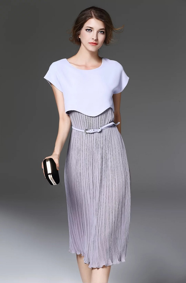 One Piece Dress Band New Style 2017 Spring Women O Neck Pleated Patchwork Short Sleeve Belted