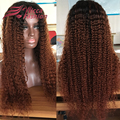 180% density Brazilian curly wigs human hair ombre lace front wig gluless brazilian curly virgin hair lace wig with baby hair