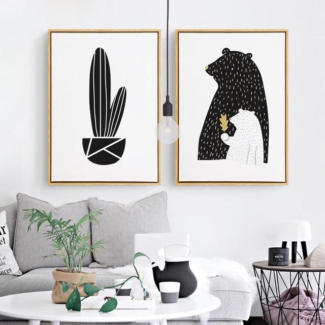 Nórdico blanco y negro Arte Abstracto carteles de dibujos animados ...