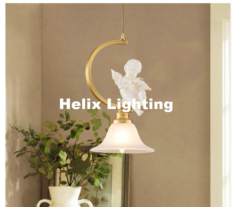 Free Shipping Nordic Brass Color 1L Vintage Pendant Lights Northern Europe Angel Design Lightings For Cafe & Bar Retro Loft Lamp modern 3l 5l 6l 8l 10l brass pendant lamp antique brass chandelier vintage total copper glass ac 100% guaranteed free shipping