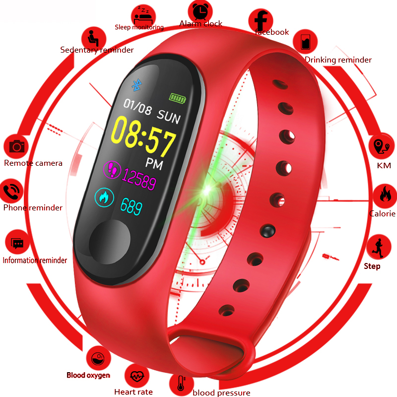 M3 Color IPS Screen Smart Sport Fitness Bracelet IP68 Waterproof Blood Pressure Oxygen Activity Tracker For Men Women watchesM3 Color IPS Screen Smart Sport Fitness Bracelet IP68 Waterproof Blood Pressure Oxygen Activity Tracker For Men Women watches