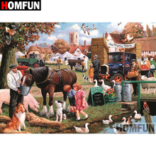 HOMFUN 5D DIY Diamond Painting Full Square/Round Drill Vacation scenery 3D Embroidery Cross Stitch gift Home Decor A08220