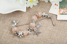Fashion DIY Jewelry Beige Crystal Beads Bracelet For Women Antique Silver Color Starfish Charm Bracelets