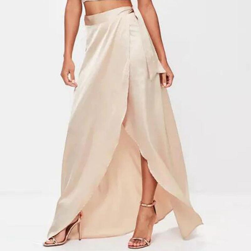 Sexy fente soie longue jupe taille haute longueur de plancher décontracté femmes Maxi jupes robes formelles bureau dame jupe sur mesure