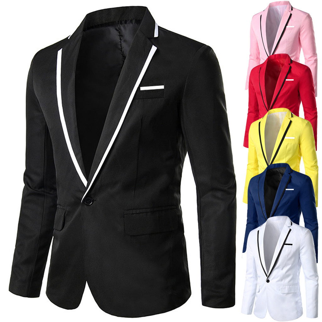 Men's Stylish Casual Solid Blazer Business Wedding Party Outwear Coat Suit Tops
