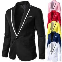 Мужской Стильный повседневный однотонный Блейзер, деловая Свадебная вечеринка, верхняя одежда, пальто, костюм, топы