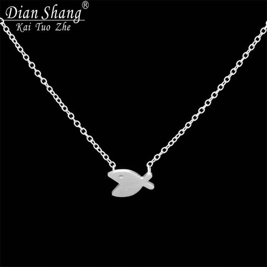 DIANSHANGKAITUOZHE 12017 Tattoo Choker Necklace Stainless Steel Body Chain Cute Animal Big Mouth Fish Punk Jewelry - Show store