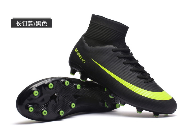 c91591183b8 Men Football Boots Soccer Cleats Boots Long Spikes TF Spikes Ankle High Top  Sneakers Soft Indoor Turf Futsal Soccer Shoes Men