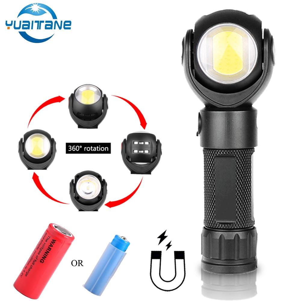 Lanterna led 360 graus t6 + cob tocha 8000lm ímã à prova dmini água mini iluminação led tocha uso ao ar livre 18650 ou 26650 bateria