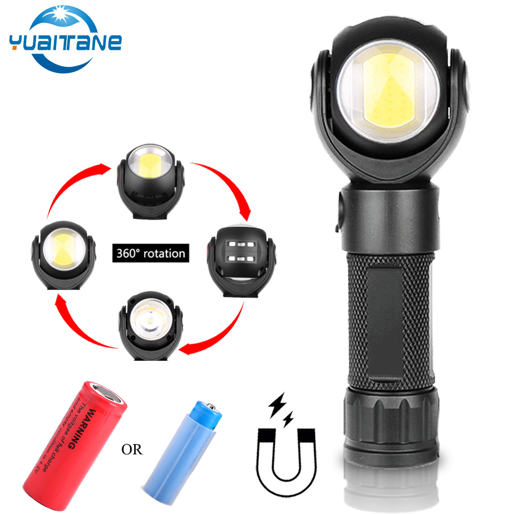 Led Flashlight 360 Degree T6+COB Torch 8000LM Waterproof Magnet Mini Lighting LED Torch Outdoor Use 18650 Or 26650 Battery